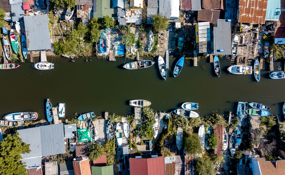 """Рибарското пристанище """"Ченгене скеле"""" от птичи поглед. Снимка: Павлина Попова"""