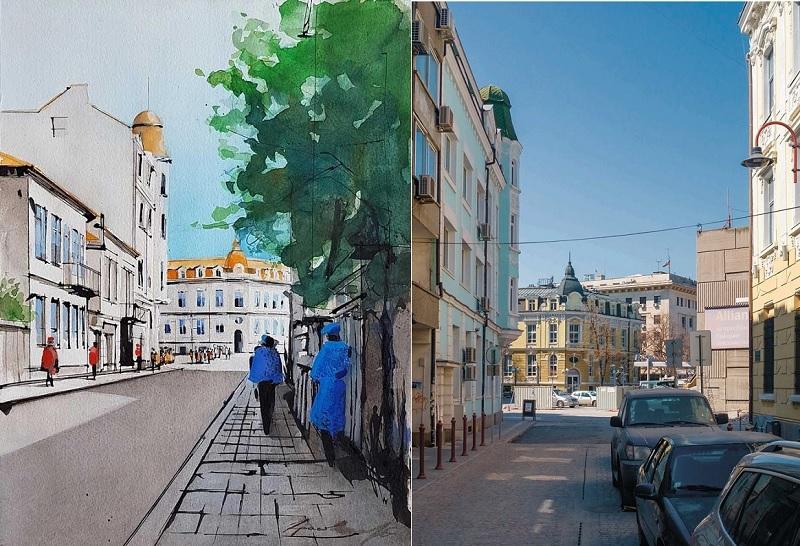 Третата картина от миналото на Бургас отново показва сградата на банката