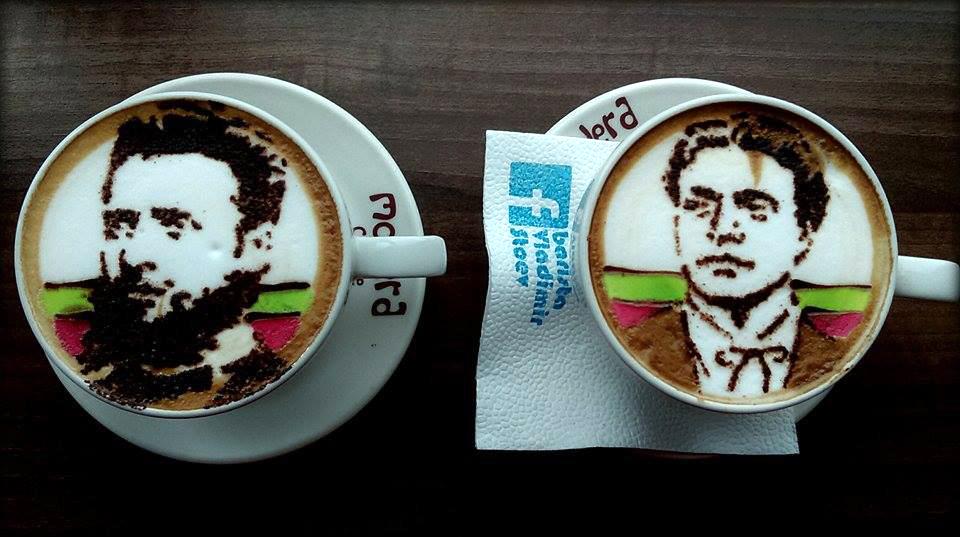 Барман прави патриотични кафета
