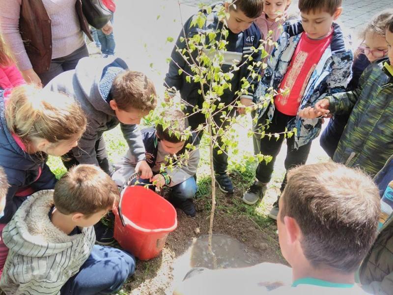 Първокласници садиха дръвчета за Деня на Земята