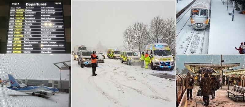 Снежна бомба парализира Великобритания