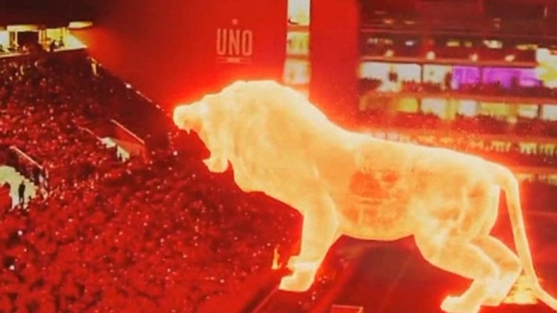 Огнен лъв се появи на стадион в Аржентина