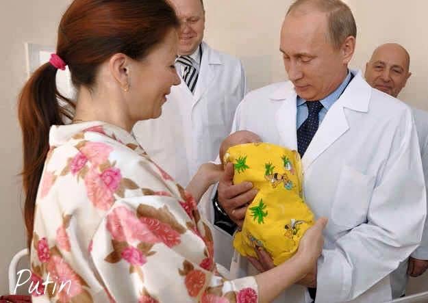 Путин с бебето на Кабаева