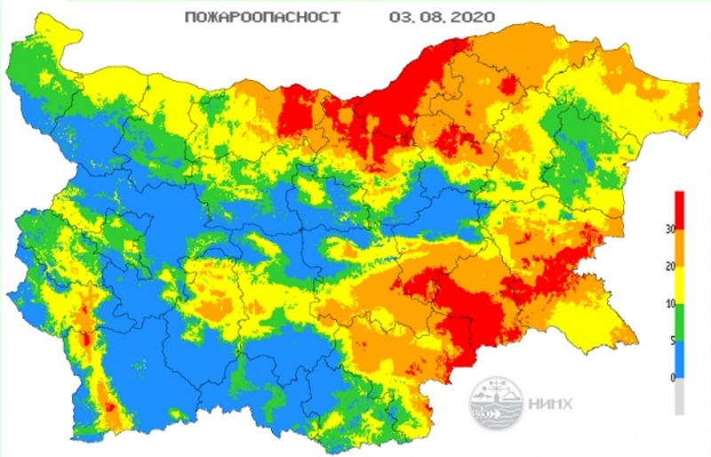 Ектремален индекс за опасност от пожари в Бургаско
