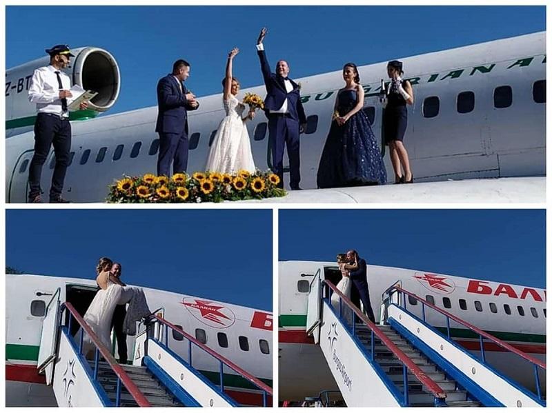 Бургаски дизайнер венча влюбени на крилото на самолет
