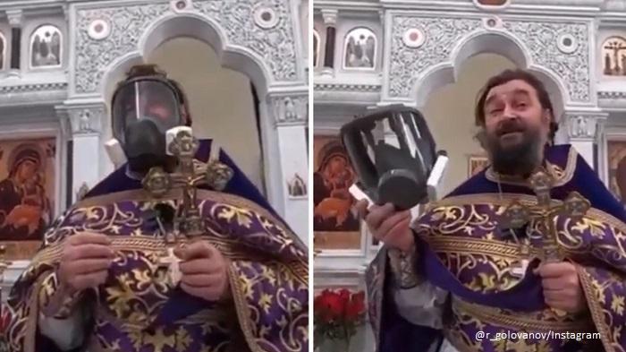 Руски свещеник се появи с противогаз