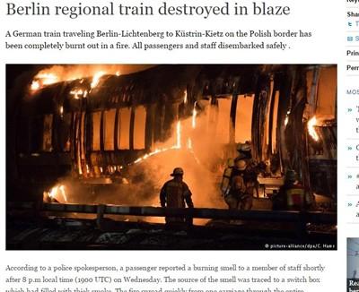 Пожар изпепели пътнически влак в Берлин