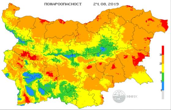 Екстремален индекс за пожароопасност е в сила за Бургаска област